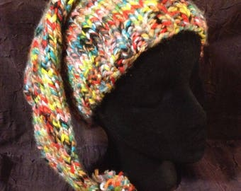 Confetti Stocking, a soft and warm handknit  long stocking hat or cap in machine washable and vegan bulky acrylic