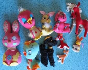 Vintage Lot of Ten Kitschy Cute Stuffed Animals, Dream Pets, Jestia, Mini Japan