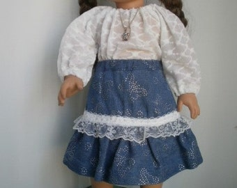 Peasant Blouse and Skirt for American Girl Size Dolls, 18 inch Doll Outfit