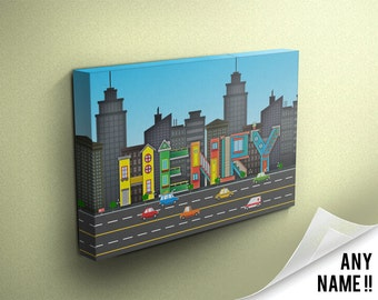 Personalised City Buildings Inspired Name Canvas