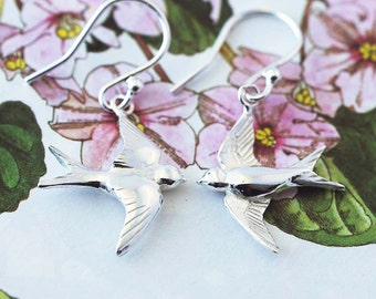 Swallow Earrings, swallow jewellery, bird earrings, silver bird jewellery, Uk handmade