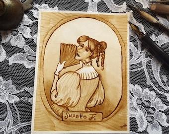 Cousin Suzette - A Steampunk Family Portrait - Original Sepia Ink Art