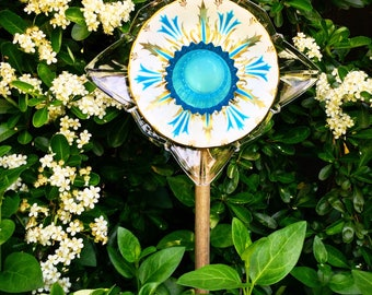 Lady Chelsea • Yard Art • Vintage China and Glass Repurposed Garden Flower • Baby Blue • Garden Plate Flower