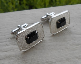 Vintage Silver Onyx Cufflinks. Silver Toned. 1970s. Gift For Dad, Brother, Husband.