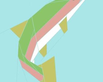 Rainbow Trout paper-piecing quilt pattern, PDF