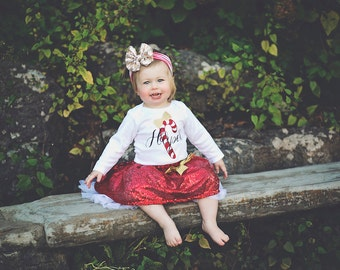 Girls Christmas outfit, Baby Girl Christmas Outfit, Christmas Dress, Girl Christmas Outfit, Toddler Christmas Outfit, Candy Cane, Skirt