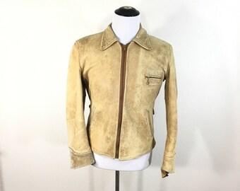 50's vintage deer skin leather jacket motorcycle mens