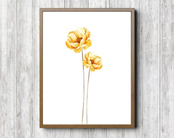 Yellow Flowers Art Print - Watercolor Flower Wall Art - Office Wall Decor - Flower Girls Room /Nursery Art - Barthroom Art- Longstem Flowers