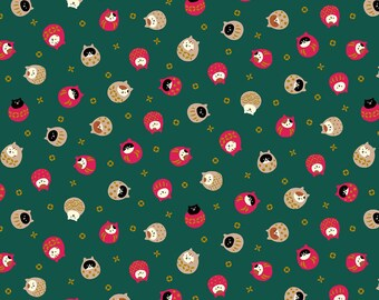 Christmas Cat Fabric - Japanese Fabric - Quilt Gate Coneco - Cat Ornament - Fabric by the Yard - Neko Coneco Metallic in Green - by the Yard