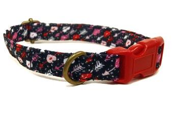 Saint Valentine - Black Red Pink White Multicolor Hearts Arrows Cupid Girl Valentine Organic Cotton CAT Collar - All Antique Brass Hardware
