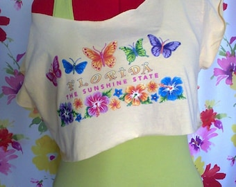 Florida butterflies crop top