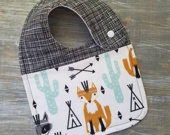 NEW: Infant Drool Bib- Aztec Fox