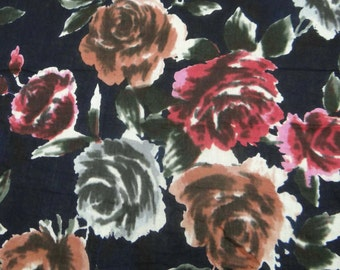 """Black Pure Cotton Dressmaking Floral Print Fabric Indian Cotton Fabric 43""""Wd Sewing Apparel Curtain Making Sewing Fabric By 1 Yard ZBC4276"""