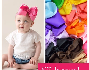 6 inch headbands, PICK 5, 20 COLORS, 6 inch baby headbands, giant baby headbands, big infant headband, 6 inch headbands 6 inch bows for girl