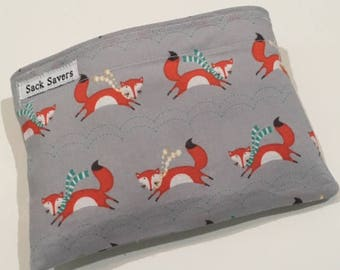 Reusable Sandwich And Or Snack Bag Grey Fox Reusable Sandwich Snack Bag You Choose Size