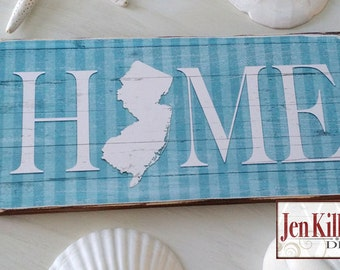 "New Jersey Sign / ""Home"" Wood Sign / Jersey Shore /  Home Sign / State Sign / NJ Art  / NJ Wood Sign"