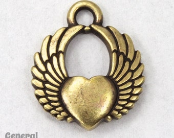 20mm Antique Brass Winged Heart Charm #CKC188