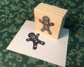 Hand carved rubber stamp - gingerbread man design.