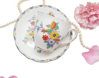 Colourful Floral Melba Teacup, Hand Painted, Made in England, Bone China Tea Cup