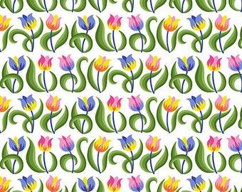 Jane Sassaman - Spring Fever - Tulips - Rainbow Item # PWJS099.RAINB