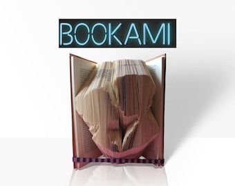 3D Book Art - Pattern - Book Folding Pattern -  Folded Book Art - 1st Anniversary Gift - PDF Download - 1st anniversary gift - book fold