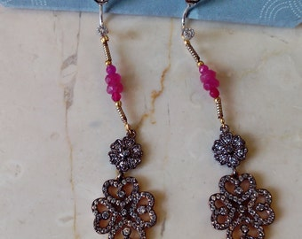 Vintage gold plated and pink Ruby earrings