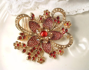 Red Sash Brooch OR Hair Comb, Large Gold Garnet Ruby Rhinestone Bridal Dress Pin or Hair Accessory Chinese, India Wedding Flower Hairpiece