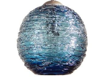 Steel Blue  Spun Hand Blown Glass Pendant Hanging Lights  by Rebecca Zhukov