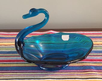 Viking Glass Blue Swan Candy Dish, Mid-Century Modern