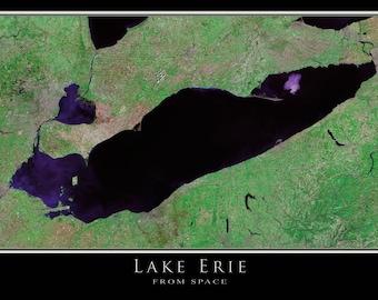 Lake Erie Satellite Poster Map