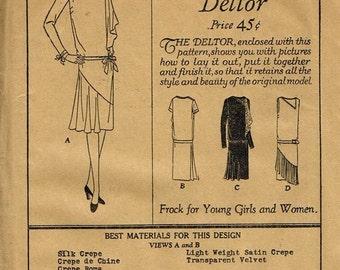 1920s Flapper Dress Asymmetrical Neckline Drop Waist Art Deco Dress Butterick 1771 Unused FF Bust 35 Women's Vintage Sewing Pattern