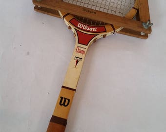 Vintage Tennis Racket and Frame 1970's Wilson Professional Champ Racket For Use of Display Vintage Sports Equipment Sport of Tennis