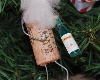 Wine Cork Santa on stand