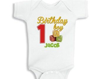 ABC Toy Blocks 1st Birthday Personalized Bodysuit or T-Shirt