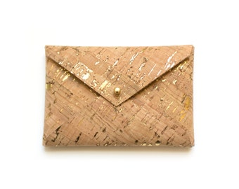 Business card case in Natural with Gold Fleck, Gold business card wallet, Minimalist vegan leather wallet,