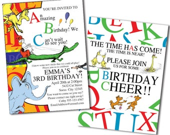Dr. Seuss ABC Invitation, Dr. Seuss Invitation, Dr. Seuss Party, ABC Birthday, Alphabet Party, Dr. Suess, Dr. Seuss Birthday Invitation