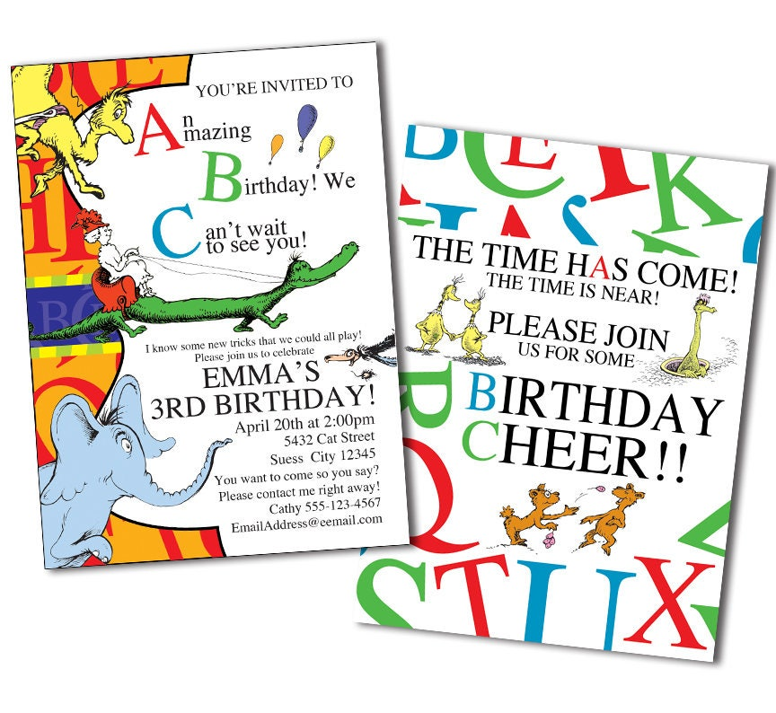 Dr. Seuss ABC Invitation Dr. Seuss Invitation Dr. Seuss