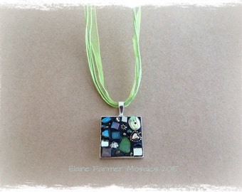 Green Square Mosaic Necklace Pendant