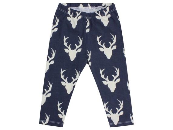 Navy Blue Buck Deer Baby Leggings Stag Boy Leggings Boy Leggings Girl or Boy Baby Leggings Unisex Leggings Toddler Pants Deer Unisex Baby