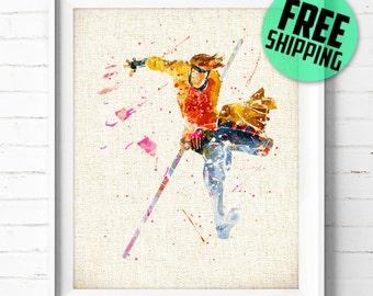 X-Men Gambit Watercolor Print, Marvel Superhero Poster, Kids Room Wall Art, Home Decor, Not Framed, Buy 2 Get 1 Free! NA317