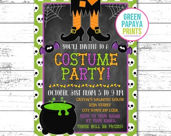 Halloween Costume Party Invitation, Halloween Birthday Invite, Kids Halloween Party Invitation, Halloween Invitations, Printable, Digital