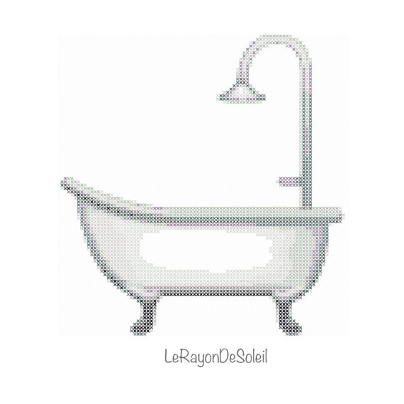 Emoji Bathtub Cross Stitch Pattern Bathroom   PDF Instant Download IPhone.