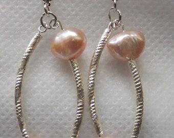 Pink pearl sterling silver earrings
