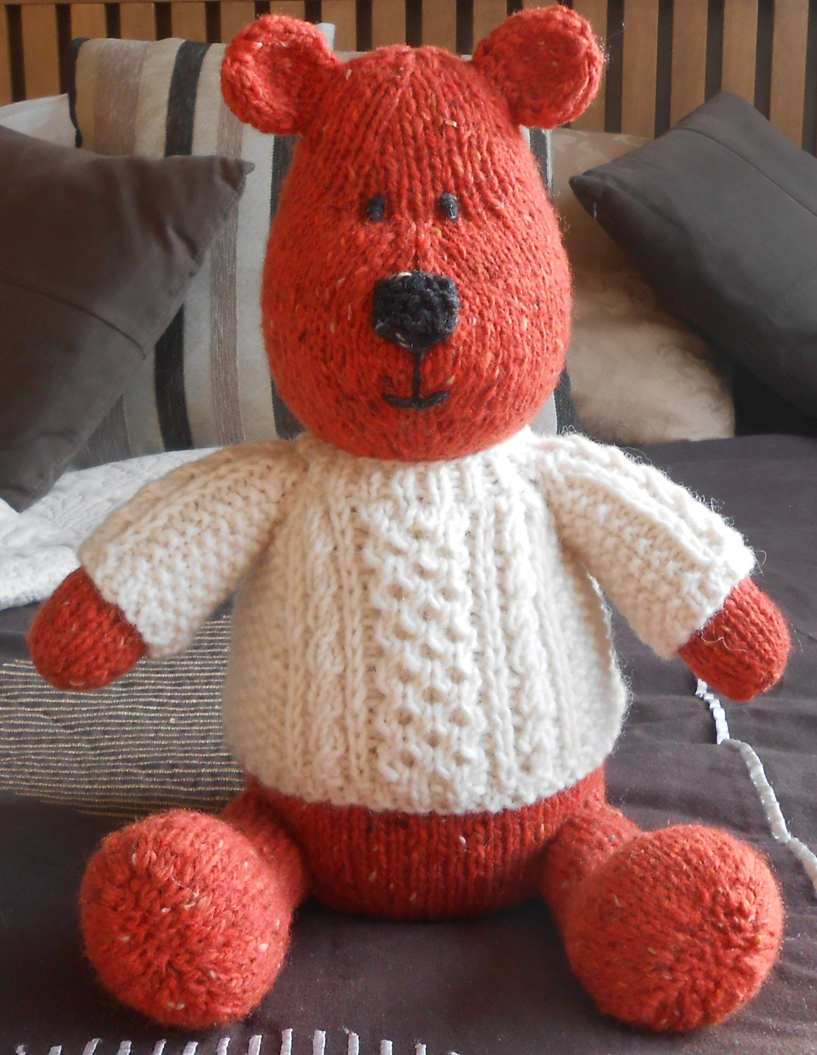 Teddy Bear with Aran Sweater PDF Knitting Pattern Irish Cabled ...