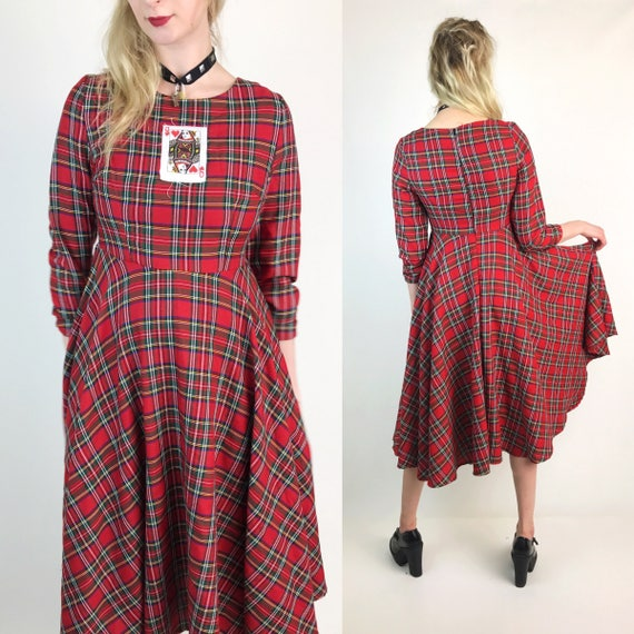 90's Queen Of Hearts Upcycled Plaid Vtg Dress Size Medium - Red Black Plaid Full Circle Skirt A-Line Dress - Long Sleeve Schoolgirl Dress