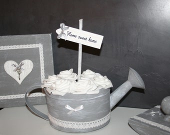 old watering can zinc grey and white roses, home sweet home