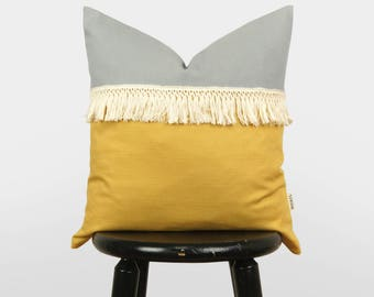18X18 Mustard Yellow, Gray And Cream Fringe Colorblock Pillow case, Bohemian Pillows, Boho Chic, Minimal Color Block Cushion Cover, 4 Sizes