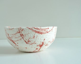 Coffee table basket, Red and white decor Rope basket, Paint splatter Gifts housewarming, Living room decor Mediterranean style, Gift for her