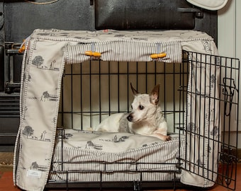 Hyde Park Dog Crate, Cover and Cushion Set - Available in 4 sizes and 3 crate colours