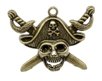 1 pirate skull charm bronze 45x34mm